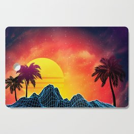 Sunset Vaporwave landscape with rocks and palms Cutting Board