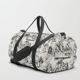 Alice in Wonderland   Toile de Jouy Pattern   Black   Beige   Vintage Pattern   Victorian Gothic   Duffle Bag