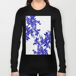 BLUE AND WHITE  TOILE LEAF Long Sleeve T-shirt