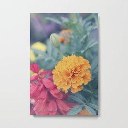 Orange Marigold and Pink Florals Metal Print