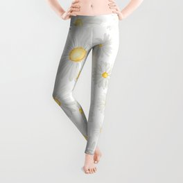 white daisy pattern watercolor Leggings