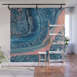 Navy, Teal, Rose, White, and Light Blue Paint Pour Waves Wall Mural
