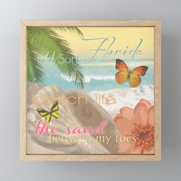Florida Beach Water The Sunshine State Collage Framed Mini Art Print