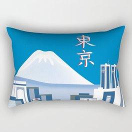 Tokyo, Japan in Kanji - Skyline Illustration by Loose Petals Rectangular Pillow