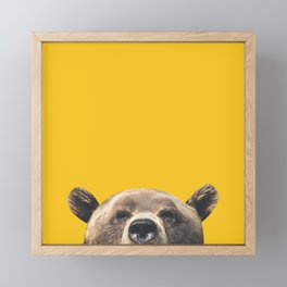 Bear - Yellow Framed Mini Art Print
