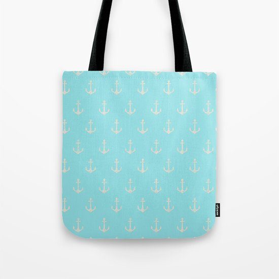 Maritime Aqua and White Anchor Pattern on #Society6 Tote Bag