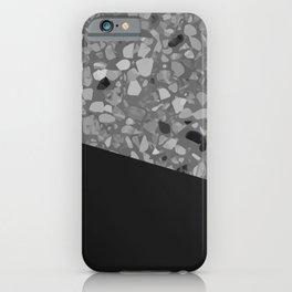 Terrazzo Texture Grey Black #7 iPhone Case