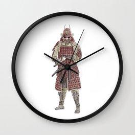 Japanese Samurai in red armor | watercolor & pencil sketch Wall Clock