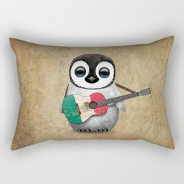 Baby Penguin Playing Mexican Flag Guitar Rectangular Pillow