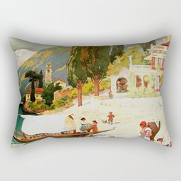 Switzerland and Italy Via St. Gotthard Travel Poster Rectangular Pillow