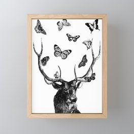 The Stag and Butterflies | Black and White Framed Mini Art Print