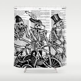 Calavera Cyclists | Black and White Shower Curtain