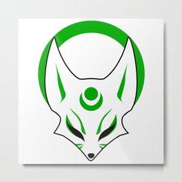 Female kitsune mask Green sunrise Metal Print