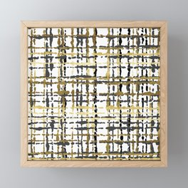 Black and Gold Loose Plaid Framed Mini Art Print