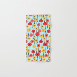 Bright Sunny Mod Poppy Flower Pattern Hand & Bath Towel