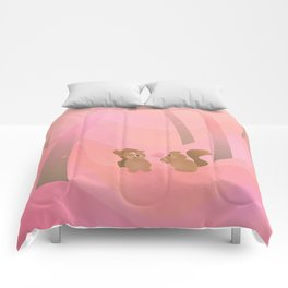 Be My Valentine (Cartoon Squirrels, Coral Pink Spring Forest) Comforters