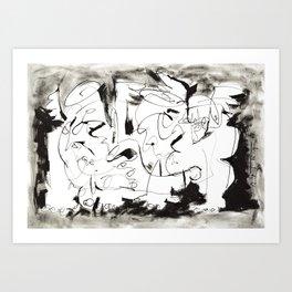 Angels Chatting - b&w Art Print