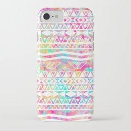 Aztec Splash | White Tribal Abstract Aztec Neon Rainbow Splatters iPhone Case