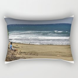 Boy contemplating the endless waves - Beach PR Rectangular Pillow