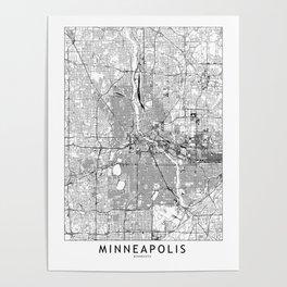 Minneapolis White Map Poster