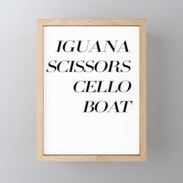 Iguana, Scissors, Cello, Boat, AutonomyBlack Framed Mini Art Print