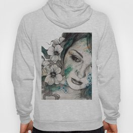 Cleopatra's Sling (flower tattoo lady portrait drawing) Hoody