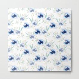 Hand painted watercolor anemone flowers Metal Print