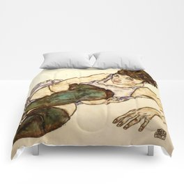 """Egon Schiele """"Reclining Woman with Green Stockings"""" Comforters"""