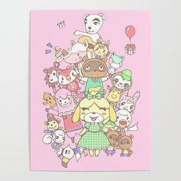 Animal Crossing (pink) Poster