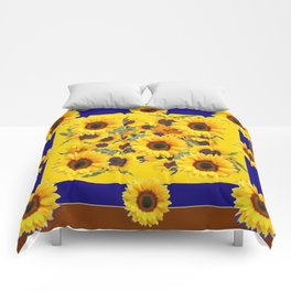 COFFEE BROWN & BLUE YELLOW SUNFLOWERS Comforters