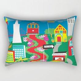 San Francisco, California - Collage Illustration by Loose Petals Rectangular Pillow