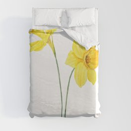 two botanical yellow daffodils watercolor Duvet Cover