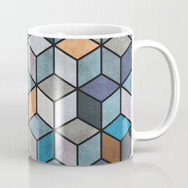 Colorful Concrete Cubes - Blue, Grey, Brown Coffee Mug