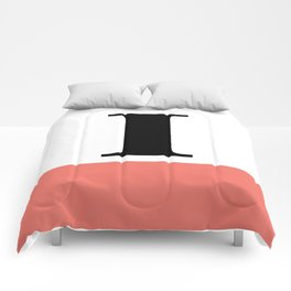 Monogram Letter I-Pantone-Peach Echo Comforters