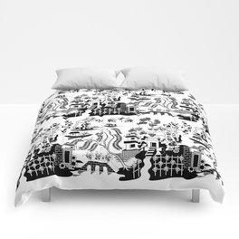 Goo Willow: Black on White Comforters
