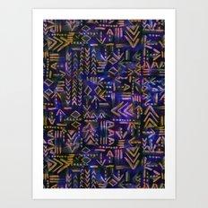 Tapa Tribal Aura Art Print