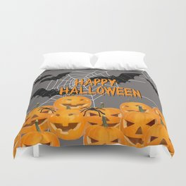 Pumpkins Happy Halloween Illustration Duvet Cover