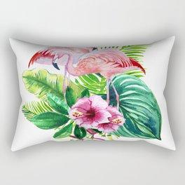 Tropical leaves and pink flamingo Rectangular Pillow