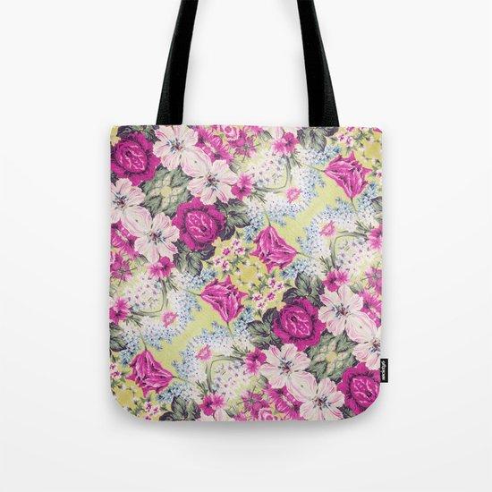Trendy Vintage Purple Teal Floral Fashion Pattern Tote Bag