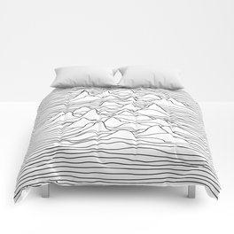 Black and white graphic - sound wave illustration Comforters