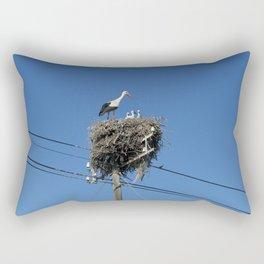 A stork family on a telegraph pole Rectangular Pillow