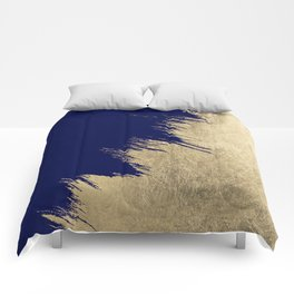 Navy blue abstract faux gold brushstrokes Comforters