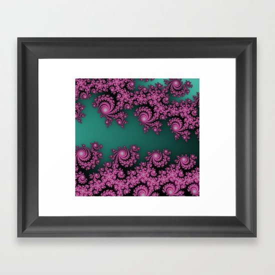 Fractal in Dark Pink and Green Framed Art Print