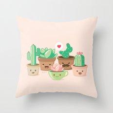 Kawaii Succulents Throw Pillow