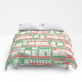 Pattern with colorful houses Comforters