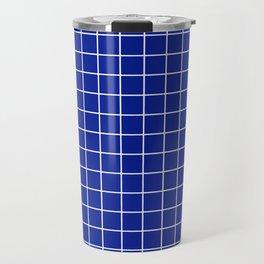 Indigo dye - blue color - White Lines Grid Pattern Travel Mug