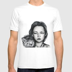 The Girl and Fox White MEDIUM Mens Fitted Tee