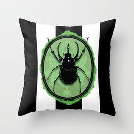 Juicy Beetle GREEN Throw Pillow
