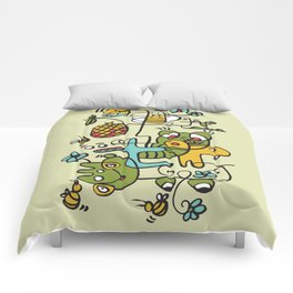 The Buzzz Doodle Monster World by Pablo Rodriguez (Pabzoide) Comforters