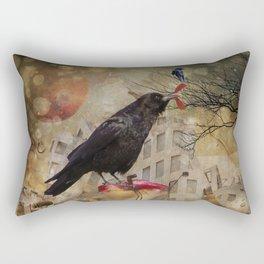 Raven in a City Rectangular Pillow